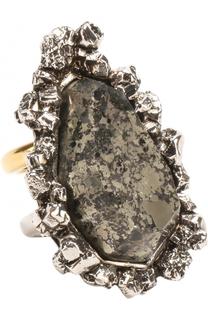Двухуровневое кольцо с камнем Alexander McQueen