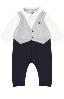 Хлопковая пижама с декором Armani Junior