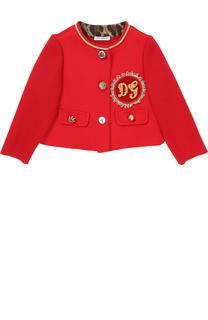 Шерстяной жакет с декоративными пуговицами и аппликацией Dolce & Gabbana