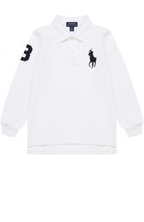 Хлопковое поло с длинными рукавами и нашивкой Polo Ralph Lauren
