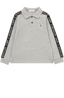 Хлопковое поло с контрастной отделкой и логотипом бренда Moncler Enfant
