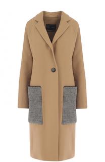 Шерстяное пальто с контратсными накладными карманами Proenza Schouler