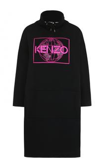 Хлопковое платье с воротником-стойкой и вышивкой Kenzo