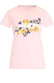 Хлопковая футболка с круглым вырезом и принтом Kenzo