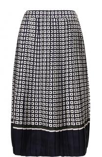 Шелковая плиссированная юбка-миди Tory Burch
