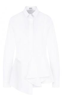 Приталенная хлопковая блуза с оборками Kenzo