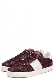 Текстильные ботильоны Flycrew с глиттером на шнуровке Valentino