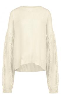 Шерстяной пуловер свободного кроя с круглым вырезом Yohji Yamamoto