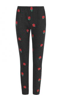 Укороченные хлопковые брюки с принтом Wildfox