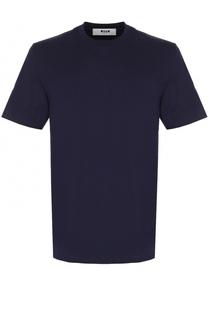 Хлопковая футболка с аппликацией на спине MSGM