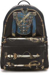 Текстильный рюкзак с принтом с внешним карманом на молнии Dolce & Gabbana