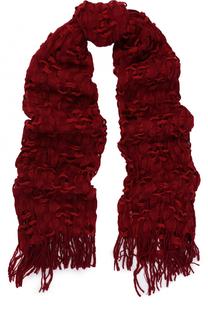 Шерстяной шарф фактурной вязки с бахромой Yohji Yamamoto