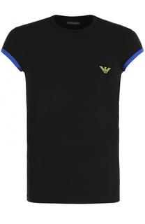 Хлопковая футболка с контрастной отделкой на рукавах Emporio Armani