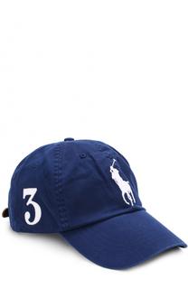 Хлопковая бейсболка с нашивками Polo Ralph Lauren