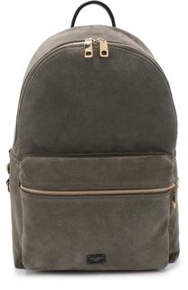 Замшевый рюкзак с внешним карманом на молнии Dolce & Gabbana