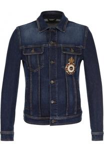 Джинсовая куртка с потертостями Dolce & Gabbana