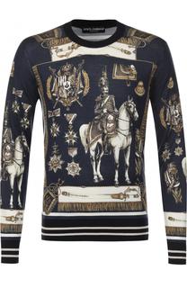 Джемпер из смеси кашемира и шелка с принтом Dolce & Gabbana