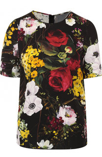 Шелковый топ с цветочным принтом Dolce & Gabbana