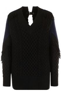 Шерстяной пуловер с V-образным вырезом Sacai