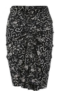 Шелковая мини-юбка с драпировкой и принтом Isabel Marant