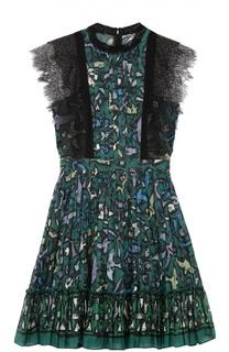 Мини-платье с плиссированной юбкой и кружевной отделкой Valentino