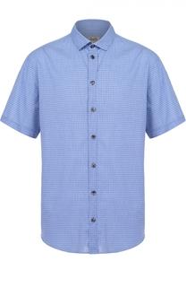 Хлопковая рубашка с короткими рукавами и воротником кент Armani Collezioni