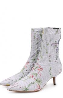 Текстильные ботильоны с принтом на каблуке kitten heel Altuzarra