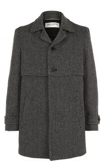 Шерстяное однобортное пальто Saint Laurent