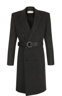 Кашемировое двубортное пальто с поясом Saint Laurent