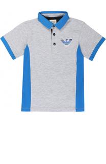 Хлопковое поло с контрастной отделкой и логотипом бренда Armani Junior