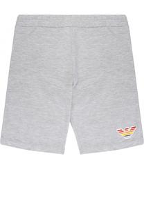 Хлопковые шорты с логотипом бренда Armani Junior