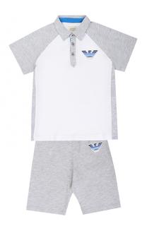 Хлопковый комплект из футболки и шорт Armani Junior