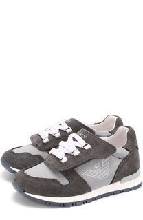Кроссовки с замшевой отделкой и застежками велькро Armani Junior