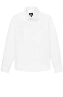 Хлопковая рубашка прямого кроя с декором Armani Junior