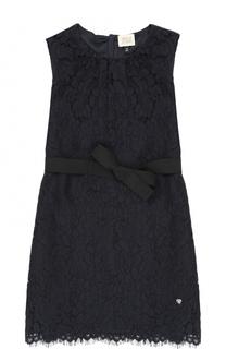 Кружевное мини-платье с поясом Armani Junior
