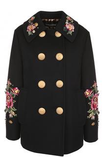 Укороченная пальто с контрастными пуговицами и вышивкой Dolce & Gabbana
