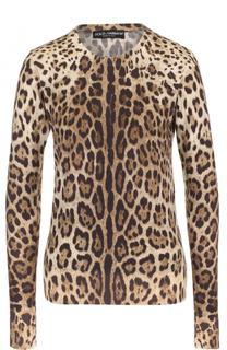 Пуловер с круглым вырезом и леопардовым принтом Dolce & Gabbana