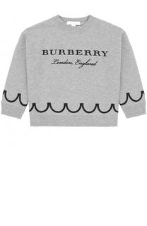 Укороченный свитшот с принтом и вышивкой Burberry