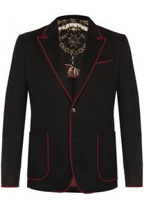 Однобортный пиджак из кашемира с контрастной отделкой Dolce & Gabbana