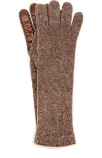 Кашемировые перчатки с кожаной отделкой Inverni