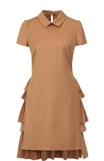 Приталенное мини-платье с плиссированными оборками на спинке No. 21
