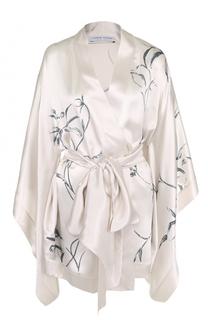 Шелковый халат с поясом и принтом Carine Gilson