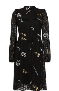 Кружевное платье-миди с цветочной вышивкой No. 21