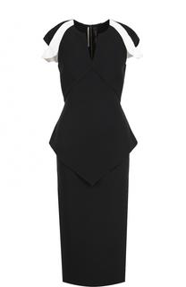 Платье-футляр с V-образным вырезом и коротким рукавом Roland Mouret