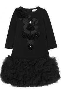 Приталенное мини-платье с объемным подолом и декором с кристаллами Monnalisa