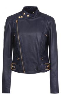 Приталенная кожаная куртка с косой молнией Polo Ralph Lauren