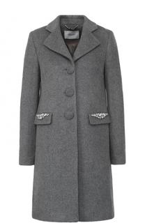 Пальто прямого кроя с декорированными карманами Blugirl