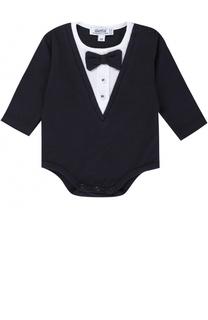 Хлопковое боди с контрастной отделкой и декоративным галстуком-бабочкой Aletta