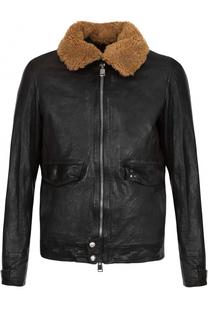 Кожаная куртка с меховой отделкой Delan