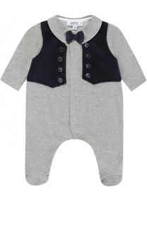 Хлопковая пижама с контрастной отделкой и декоративным галстуком-бабочкой Aletta